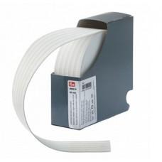 Эластичная лента-с дорожкой д/шва (резинка), 10м, 50мм, белая, 83%пол, 17%эл, руллон 955518