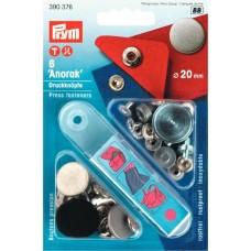 390376 Кнопки Анорак с дизайном, д/тканей средней плотности, латунь, нержавеющие, состаренного желез