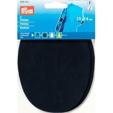 Заплатки пришивные, велюр-кожа, темно-синий, 2шт в блистере 929351