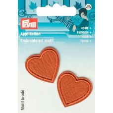 Термоаппликация Сердце 30*29мм, 100% искусственная кожа, цвет шерсти верблюда, Prym, 925595