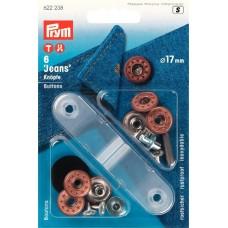 622238 Джинсовые кнопки пластик/латунь, нержавеющие, 17мм, состаренной бронзы, 6шт в блистере