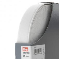 Эластичная лента-велюр(резинка), 10м, 25мм, белая, 64%полиэ, 14%палиам, 22%эл, кассета 953158
