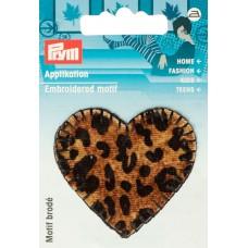 Термоаппликация Сердце 52*48мм, 100% полиэстер, тигровая расцветка, Prym, 926680
