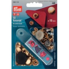 Кнопки Анорак, д/тканей средней плотности, латунь, нержавеющие, 15мм, золотистый, 10шт в блис 390314