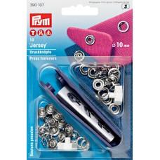 390107 Кнопки Джерси д/легких тканей, латунь, нержавеющие, кольцо10мм, серебристый, 10шт в блистере