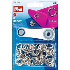 390195 Непришивные кнопки Джерси (латунь) серебристый цв. 18 мм