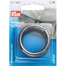 Кольца для сумок, диаметр 35мм, сплав цинка, оружейного металла, 2шт в упаковке, Prym, 417893