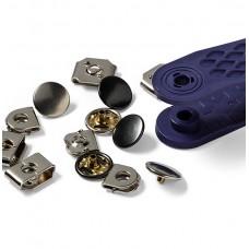 265815 Крючки и штрипки д/брюк, юбок, латунь, нержавеющие, 13мм, серебристый/черный, 100шт в упаковк