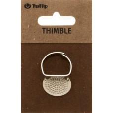 Наперсток Кольцо, регулируемый, с пластиной, сталь, серебристый, Tulip, SN-009e