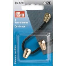 Наконечники для шнура конические 10*13мм, металл, светлого золота, 2шт в упаковке, Prym, 416678