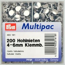 403161 Клепки с отверстием, латунь, нержавеющие, д/толщины материала 4-6мм, серебристый, 200шт в упа