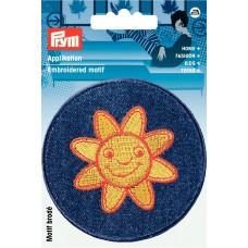 *  Термоаппликация джинсовая Солнце, диаметр 78мм, Prym, 923121