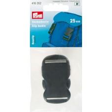 416352 Пряжка-застежка, пластик, д/сумок, рюкзаков, 25мм, черный, 1шт в блистере