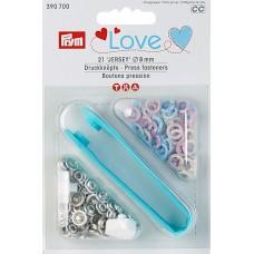 390700 Кнопки Джерси Color Love + инструмент для установки кнопок, диаметр 8мм, Prym