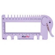 Линейка Слон для определения размера спиц с резаком для нити, KnitPro, 10995