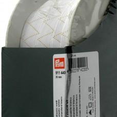 Эластичная лента-широкая (резинка), 25м, 20мм, белая, 65%пол, 35%эл, кассета 911440