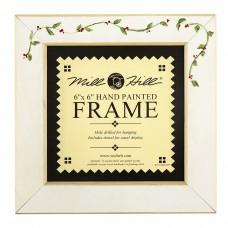 Рамка деревянная цвет антик белый с ручной росписью