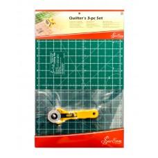 Набор для пэчворка: мат двусторонний 43 х 28 см/17 x 11, линейка 12 х 6 1/2, нож ролевый 45 мм