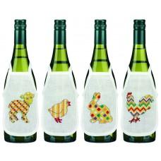 Фартучки на бутылки, набор для вышивания Пасха
