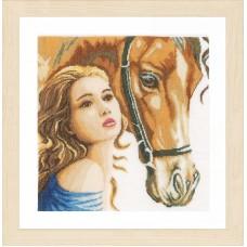 Набор для вышивания Women and horse linen LANARTE