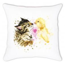 Набор для вышивания, подушка Кот с утенком, Luca-S