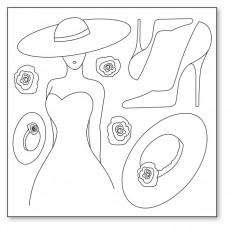 Салфетка рисовая с контуром рисунка Женщина, туфелька, шляпа