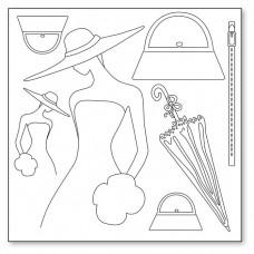 Салфетка рисовая с контуром Женщина и аксессуары