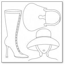 Салфетка рисовая с контуром Женщина в шляпе, сумка, сапожок
