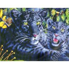 Набор для вышивания Черная пантера с детенышами