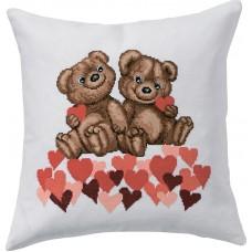 Подушка Мишки с сердечками набор для вышивания