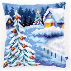 Подушка Зимний пейзаж набор для вышивания