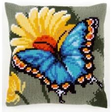 Подушка Бабочка и желтый цветок набор для вышивания