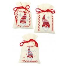 Мешочки для вышивания (саше), набор из 3 шт, Рождественские гномы