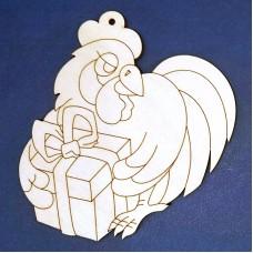 Деревянная фигурка Петух с подарком