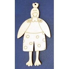 Деревянная фигурка Петух в штанах Тильда