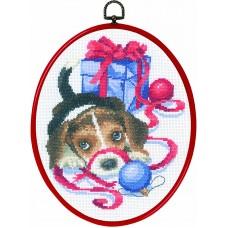 Набор для вышивания Рождественский щенок