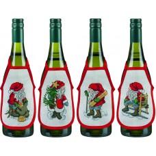 Набор для вышивания Рождественские гномы, фартучки на бутылку, набор из 4 шт