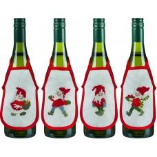 Набор для вышивания Счастливые Санты, фартучки на бутылку, набор из 4 шт