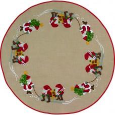 Коврик под ёлку Гномы с ёлками, набор для вышивания