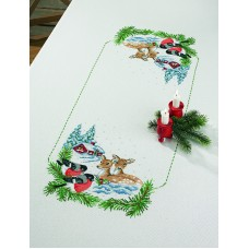Скатерть Косуля в снегу, набор для вышивания