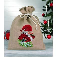Набор для вышивания Гном и снегирь, мешок для подарков