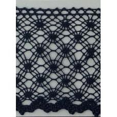 Мерсеризованное хлопковое кружево, 50 мм, цвет темно-синий