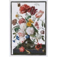 Набор для вышивания Цветы в стеклянной вазе, канва лён 32 ct