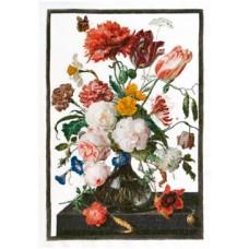 Набор для вышивания Цветы в стеклянной вазе, канва Aida 18 ct