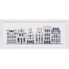Набор для вышивания Дома в стиле Delft Blue, канва Aida 18 ct
