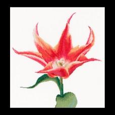 Набор для вышивания Оранжевый тюльпан, канва лён 36 ct