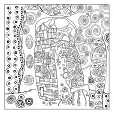 Салфетка рисовая с контуром рисунка Klimt Il bacio