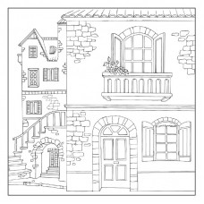 Салфетка рисовая с контуром рисунка Старый дом