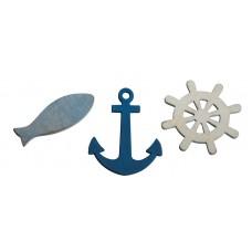 Набор декоративных элементов Рыбки, якоря и штурвалы