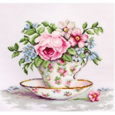 Набор для вышивания Цветы в чайной чашке